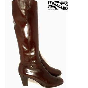 Salvatore Ferragamo Burgundy Heeled Boots Sz 8.5